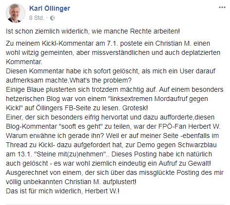 Originalposting - Karl Öllinger äußert sich auf Facebook zum Sachverhalt.