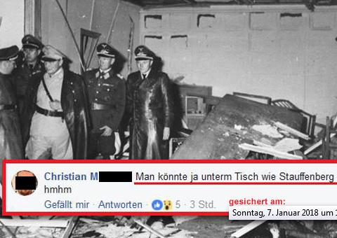 Userposting auf der Facebook Seite von Ex-Nationalrat Karl Öllinger (Grüne), 7. Jänner 2018