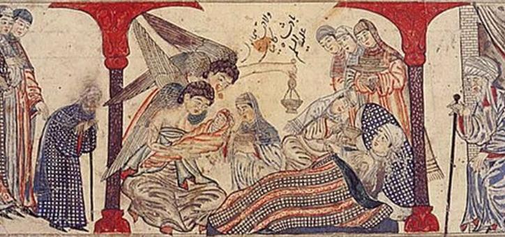 Die Geburt des Propheten Mohammed. Dschami' at-tawarich, Raschid ad-Din, Iran, 1314-1315